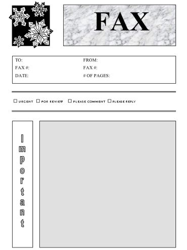 Snowflakes Fax Cover Sheet